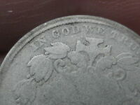 1866 SHIELD NICKEL 5 CENT PIECE- WITH RAYS, , SLIGHTLY OFF CENTER?