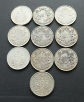 $5.00 FACE VALUE LOT OF 80  OLD SILVER CANADA 50C COINS CIRC