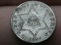 1855 THREE 3 CENT SILVER, VF DETAILS,  RPD, REPUNCHED DATE