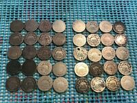 COMPLETE ROLL/LOT OF 40 SHIELD NICKELS- 1867-1882- ALL WITH DATES