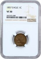1857 FLYING EAGLE 1C NGC VF30 - POPULAR FIRST YEAR TYPE COIN - FLYING EAGLE CENT