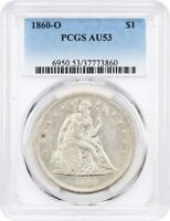1860-O $1 PCGS AU53 - POPULAR NEW ORLEANS MINT - LIBERTY SEATED DOLLAR