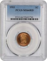 1901 1C PCGS MINT STATE 66 RD - INDIAN CENT