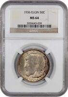 1936 ELGIN 50C NGC MINT STATE 64 - SILVER CLASSIC COMMEMORATIVE