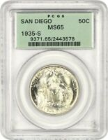 1935-S SAN DIEGO 50C PCGS MINT STATE 65 OGH SILVER CLASSIC COMMEMORATIVE