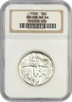 1938 OREGON 50C NGC MINT STATE 66 - LOW MINTAGE ISSUE - SILVER CLASSIC COMMEMORATIVE