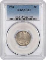 1902 5C PCGS MINT STATE 62 - LIBERTY V NICKEL