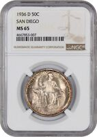 1936-D SAN DIEGO 50C NGC MINT STATE 65 - SILVER CLASSIC COMMEMORATIVE