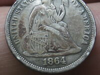 1864 SEATED LIBERTY SILVER DIME, VF OBVERSE DETAILS, FULL DATE