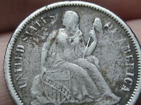 1872 OR 1882 SEATED LIBERTY SILVER DIME- FINE/VF DETAILS