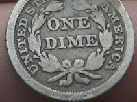 1850 P SEATED LIBERTY SILVER DIME- GOOD/VG DETAILS