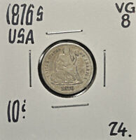 1876-S UNITED STATES 10 CENTS VG-8