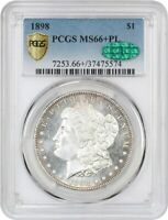1898 $1 PCGS/CAC MINT STATE 66 PL - MORGAN SILVER DOLLAR -  PROOFLIKE GEM