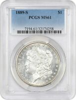 1889-S $1 PCGS MINT STATE 61 - FROSTY LUSTER - MORGAN SILVER DOLLAR - FROSTY LUSTER