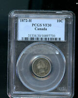 1872 H CANADA 10 CENTS PCGS CERTIFIED VF30 KEY DATE A595