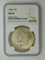 1882 MORGAN SILVER DOLLAR NGC GRADED MINT STATE 64
