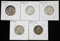 LOT OF 5 1927-D STANDING LIBERTY SILVER QUARTERS - 04474