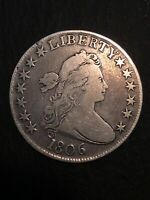 1806 50C DRAPED BUST HALF DOLLAR POINTED 6 STEMLESS, FINE
