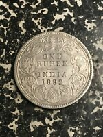 1892 INDIA 1 RUPEE LOTL5976 SILVER  NICE DETAIL  OLD CLEANING