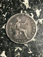 1855 GREAT BRITAIN 4 PENCE FOURPENCE GROAT LOTL5988 SILVER  LOW MINTAGE