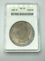 1882-P MINT STATE 65 MORGAN SILVER DOLLAR COLORFUL TONING & OLD ANACS HOLDER