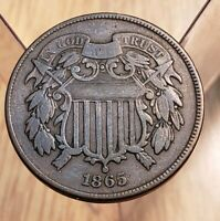 1865 CIVIL WAR ERA 2 CENT PIECE