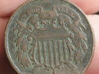 1864-1872 TWO 2 CENT PIECE- VF DETAILS, ROTATED REVERSE MINT ERROR
