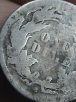 1863 S SEATED LIBERTY SILVER DIME- LOW MINTAGE DATE
