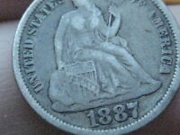 1887 SEATED LIBERTY DIME- VF/ FINE DETAILS