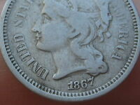 1867 THREE 3 CENT NICKEL- CIVIL WAR TYPE COIN- FINE/VF DETAILS
