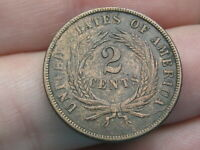 1865 TWO 2 CENT PIECE- FANCY 5, EXTRA FINE  DETAILS, REVERSE DIE CRACK