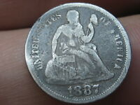 1887 P SEATED LIBERTY SILVER DIME- VG DETAILS