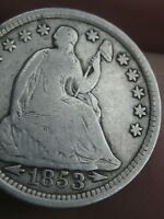 1853 P SEATED LIBERTY HALF DIME- WITH ARROWS, VG/FINE DETAILS