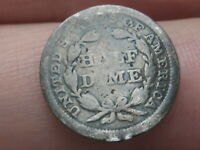 1858 P SEATED LIBERTY HALF DIME- GOOD DETAILS