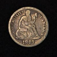 1887 10C SEATED LIBERTY DIME VF CONDITION 90 SILVER US COIN