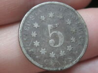 1874 SHIELD NICKEL 5 CENT PIECE,  DATE