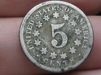 1869 SHIELD NICKEL 5 CENT PIECE- TALL DATE