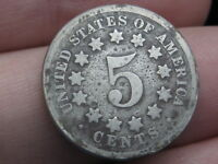 1869 SHIELD NICKEL 5 CENT PIECE- TALL/NARROW DATE- FS-301