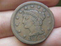 1852 BRAIDED HAIR LARGE CENT PENNY, FINE/VF DETAILS, CLIPPED PLANCHET?