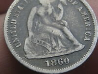 1860 SEATED LIBERTY DIME- FINE/VF DETAILS
