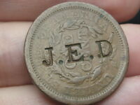 1843 BRAIDED HAIR LARGE CENT PENNY- MATURE HEAD, COUNTERSTAMPED J.E.D