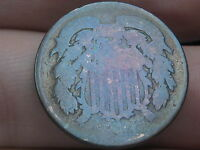1864 TWO 2 CENT PIECE- CIVIL WAR TYPE COIN, BLUE TONING