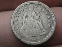 1857 P SEATED LIBERTY DIME- FINE/VF DETAILS