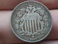 1867 SHIELD NICKEL 5 CENT PIECE- NO RAYS, VF/EXTRA FINE  DETAILS, DIE CRACKS