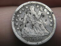 1849 SEATED LIBERTY HALF DIME- FULL DATE, VG/FINE DETAILS