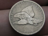 1858 FLYING EAGLE PENNY CENT- SMALL LETTERS, VG DETAILS