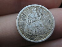 1875 S SEATED LIBERTY SILVER DIME- MINTMARK ABOVE BOW
