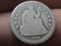1840 SEATED LIBERTY DIME WITH DRAPERY,  KEY DATE