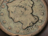 1849 BRAIDED HAIR LARGE CENT PENNY- VG DETAILS