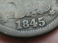 1845 BRAIDED HAIR LARGE CENT PENNY- FULL DATE